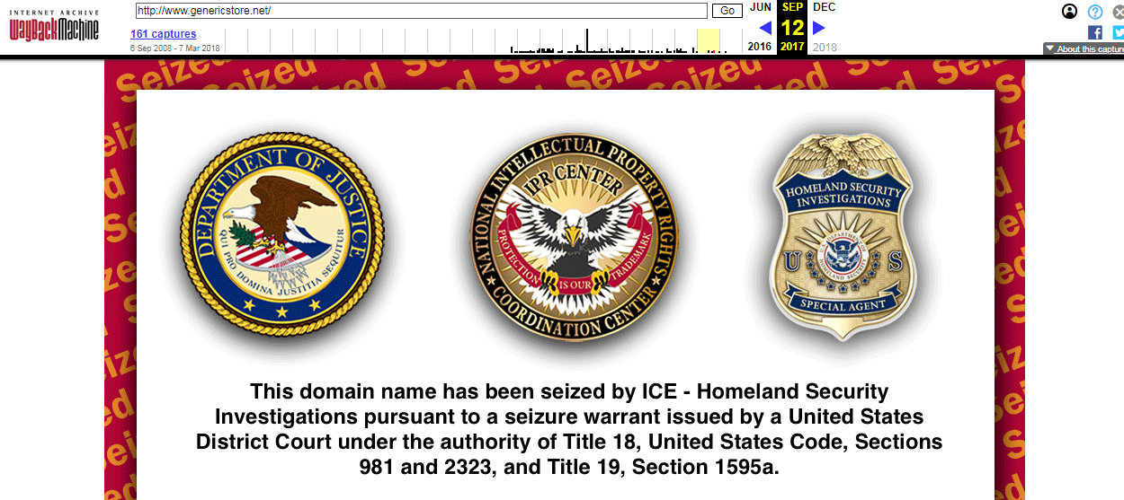 Generic Store Seized by the US Government